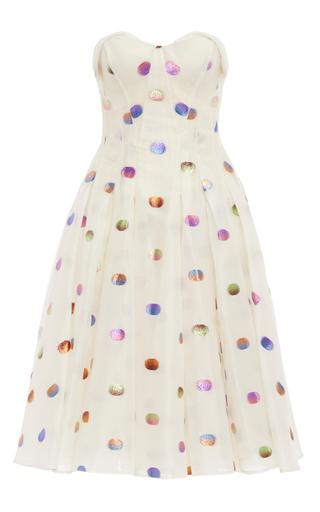 Medium zac posen multi strapless lurex polka dot dress with flared skirt