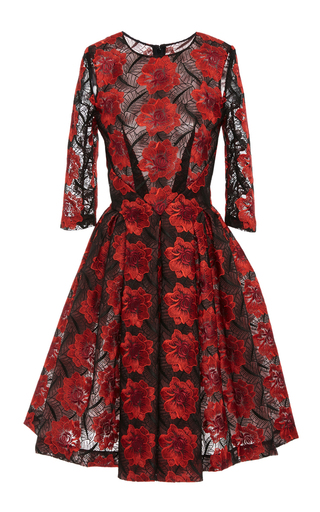 Medium zac posen red poppy embroidery three quarter sleeve dress