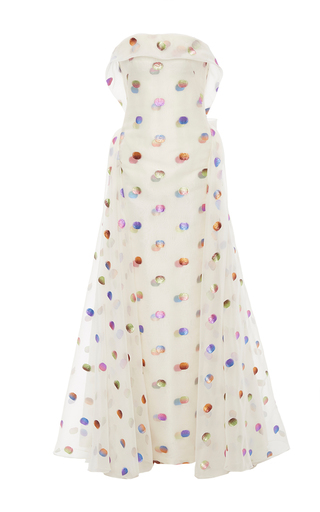 Medium zac posen multi strapless lurex polka dot gown