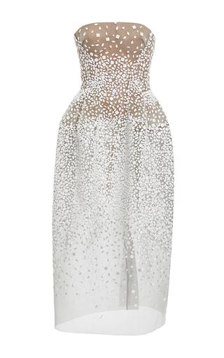 Medium zac posen white strapless shell embroidery gown