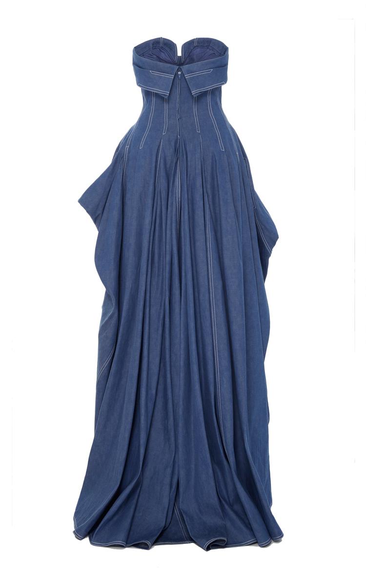 Strapless Denim Dress by Carolina Herrera  Moda Operandi