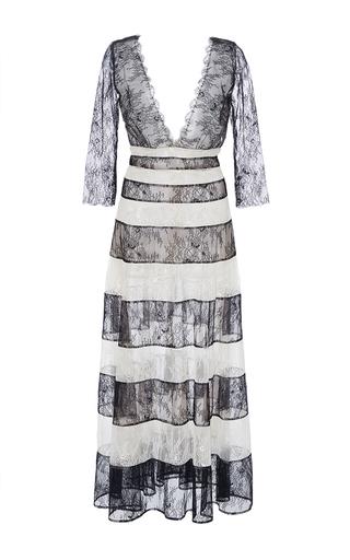Medium carolina herrera stripe v neck lace a line dress