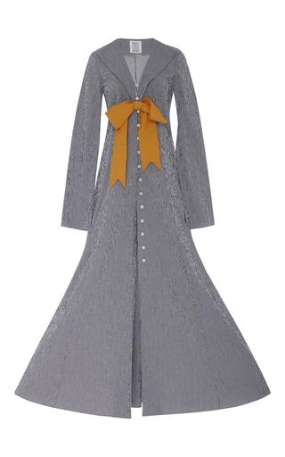 Medium rosie assoulin light grey checked seersucker gingham jacket with bow