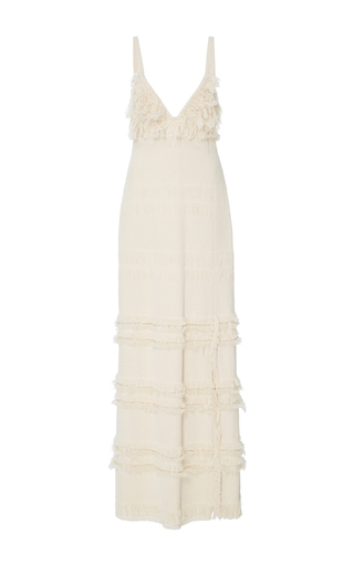 Medium rosie assoulin off white empire waist frayed gown