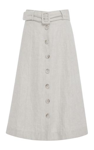 Medium sea tan button front a line linen midi skirt