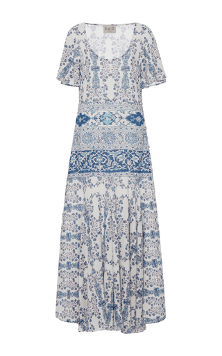 Medium sea multi flutter peasant dress