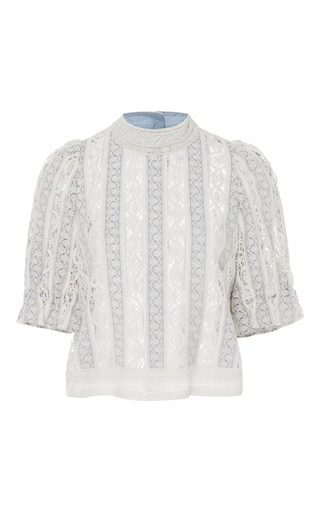 Medium sea blue column crochet short sleeve top