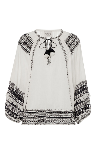 Medium sea multi fringe boho blouse
