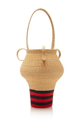 Medium rosie assoulin tan navy and red stripe jug bag