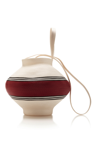 Medium rosie assoulin white white jug bag with red stripe