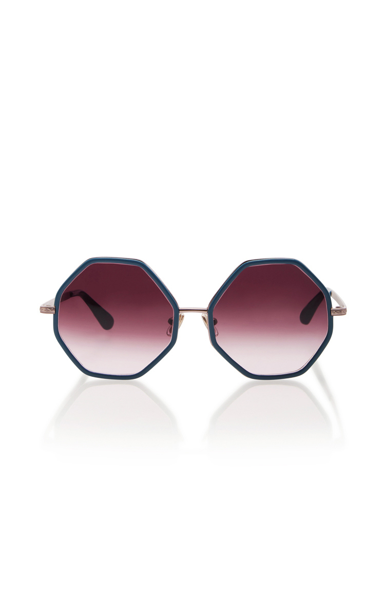 caa28bc683 These  Rosie Assoulin x Morgenthal Frederics  sunglasses are rendered in  metal and feature a unique octagon shape and oversized lenses.