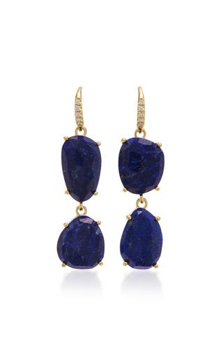 Medium lauren k blue 18k yellow gold lapis and diamond earrings