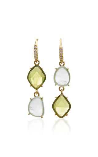 Medium lauren k green 18k yellow gold peridot and aquamarine earrings