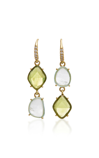 Medium lauren k green 18k yellow gold peridot and aquamarine earrings