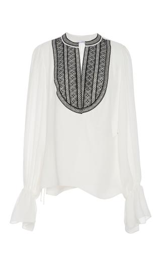 Medium oscar de la renta white embroidered silk georgette blouse