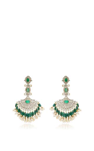 Medium sanjay kasliwal green 14k gold indorussian emerald chandelier earrings