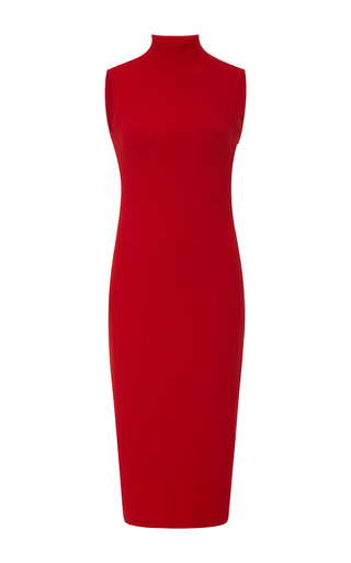 Medium getting back to square one red turtleneck pencil dress