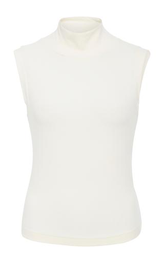 Medium getting back to square one white sleeveless turtleneck