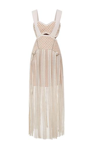 Medium self portrait white avery fringe cutout dress