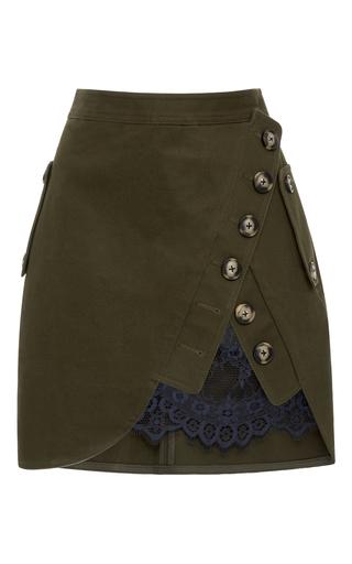 Medium self portrait green lace paneled mini skirt