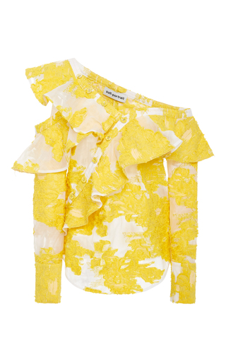 Medium self portrait yellow floral fil coupe ruffled off the shoulder top