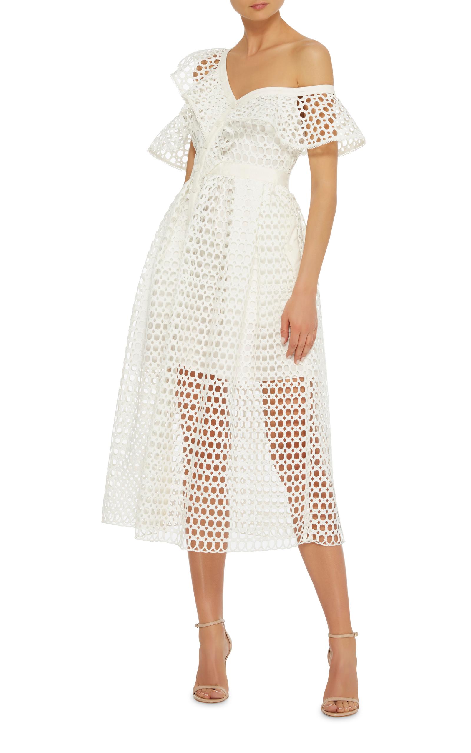 af10b96b6616 Off-The-Shoulder Ruffled Midi Dress by Self Portrait   Moda Operandi