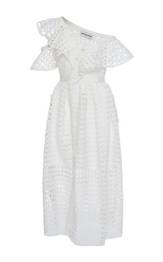 Medium self portrait white off the shoulder ruffled midi dress