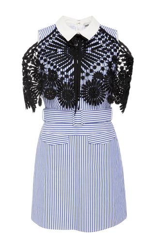 Medium self portrait stripe lace and cotton poplin dress