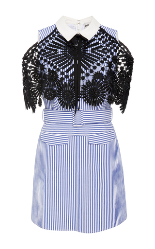 Medium self portrait stripe lace and cotton poplin dress