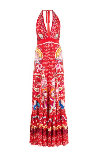 Medium temperley london red chimera v neck flared dress
