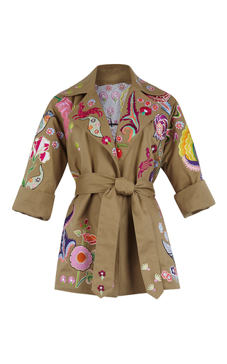 Medium temperley london tan hermia embroidered coat