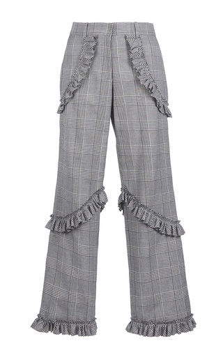 Medium simone rocha plaid prince of wales check frill trousers