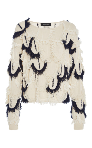 Medium tabula rasa white mali scalloped fringe sweater