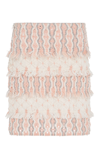 Medium tabula rasa pink mokao layered fringe mini skirt
