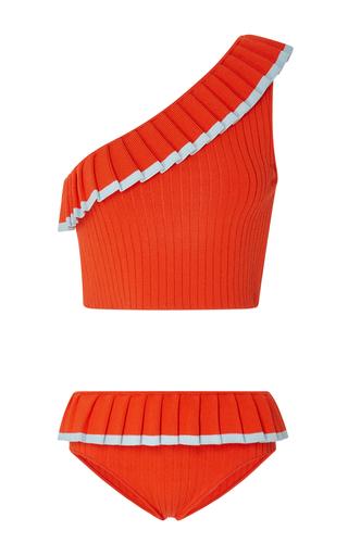 Medium tabula rasa red aracari one shoulder ribbed bikini set