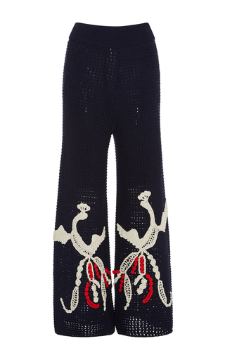 Medium tabula rasa navy loon wide leg embroidered pant