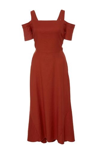 Medium a l c red daniel cold shoulder midi dress