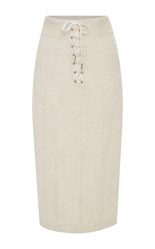Medium a l c neutral liya lace up tweed pencil skirt