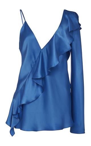 Medium diane von furstenberg blue asymmetric sleeve ruffle blouse