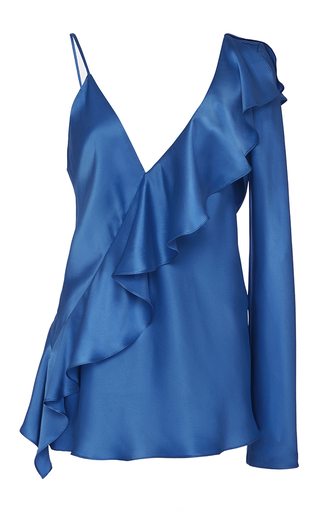 Medium diane von furstenberg blue asymmetric sleeve ruffle blouse