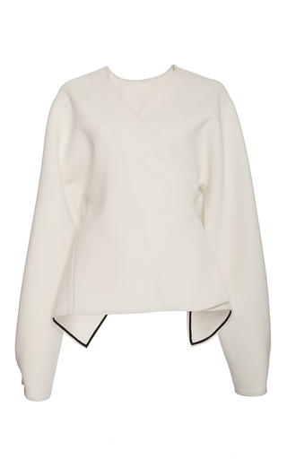 Medium diane von furstenberg white relaxed wrap front jacket