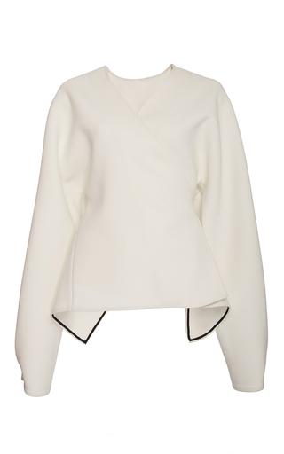 Medium diane von furstenberg white relaxed wrap front jacket
