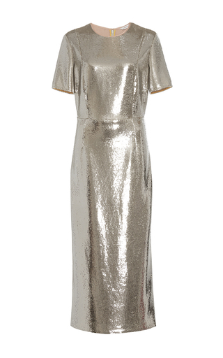 Medium diane von furstenberg silver tailored sequin dress