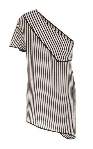 Medium diane von furstenberg stripe striped one shoulder blouse