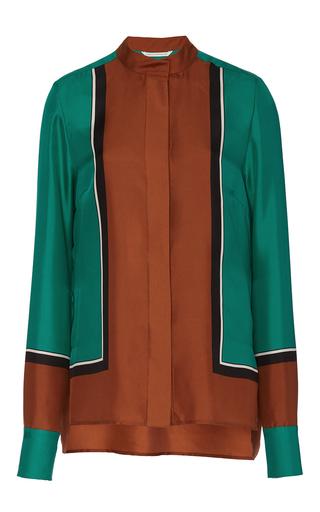 Medium diane von furstenberg multi colorblock long sleeve blouse