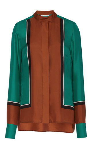 Medium diane von furstenberg multi colorblock long sleeve blouse