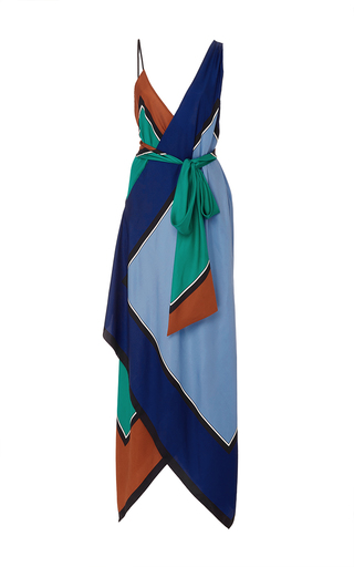 Medium diane von furstenberg multi scarf hem tiered midi dress