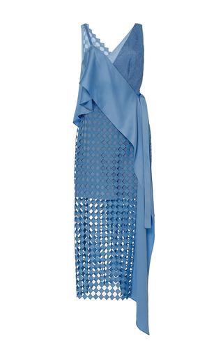 Medium diane von furstenberg blue asymmetric lace wrap dress