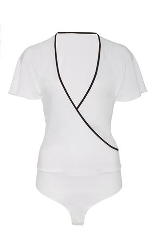 Medium diane von furstenberg white flutter sleeve bodysuit