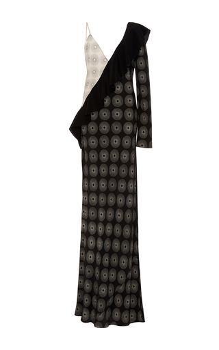 Medium diane von furstenberg print asymmetric ruffle sleeve maxi dress